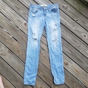 LONG Ripped Light Wash Straight Cut Jeans